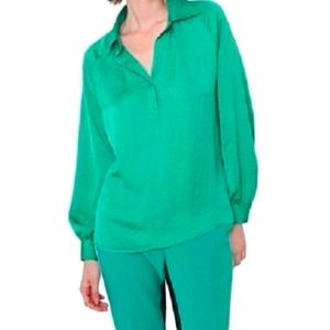 Isaac Mizrahi s16 emerald green long sleeve top